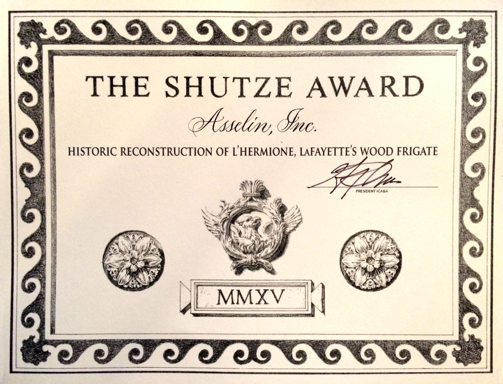 Shutze-Award-2015_Asselin - Hermione Historic Reconstruction